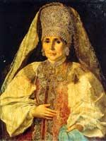 Женщина в русском костюме 18 века. Неизв. худ. начало 19 в. (ГИМ)