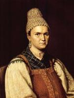 Портрет крестьянки с синим клетчатым платком на шее. 1850-е гг. Неизв. худ.