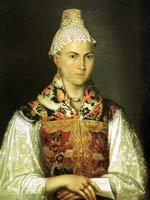 Женщина в тверском головном уборе каблучок. Неизв. худ.
