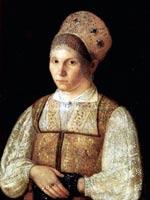 Портрет крестьянки с синим платочком в руках. 1820-е. Неизв. худ.