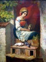 Йохан Боклунд (Johan Christoffer Boklund (1817-1880)). Портрет женщины, сидящей в окне