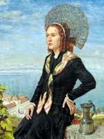 Ганс Дитер (Hans Dieter (1881-1968)). Портрет молодой женщины в золотом чепце на парапете у озера