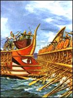 Антична галера. Иллюстрация к статье Георгия Костылева «Военно-исторические хохмы»