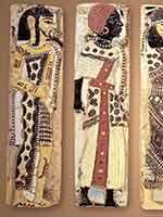 Фаянсовые рельефы в погребальном храме Рамсеса III, изображающие берберов