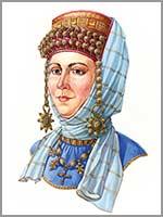 Русская женщина в уборе с колтами на ряснах и очельем, вторая половина 12 века