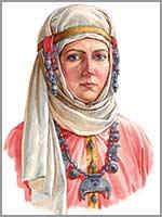 Женщина в уборе с гроздевидными наушницами, конца 10- начала 11 вв. По материалам кладов из Гнёздово под Смоленском