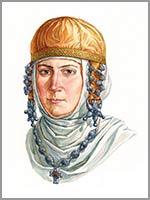 Древнерусская женщина в уборе с колтами и трёхбусинными кольцами, 12 век. По материалам клада из Старой Рязани 1970 года