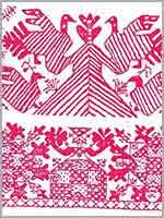 Макошь в русской (вверху) и индийской (внизу) вышивке