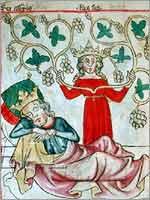 Миниатюра «сон Астиага» 1330-1340 гг., Вена, Национальная библиотека Австрии