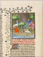 Миниатюра «Кир, внук Астиага, короля Мидии, вскормленный животным», мастер Бусико (Boucicaut Master), Франция 1410-1430 гг.