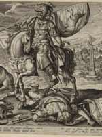 Гравюра «Кир, король Персии» из набора из черырёх гравюр «Величайшие правители античности» 1590-е гг.