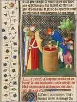 Миниатюра «Тамарис, королева массагетов убивает Кира Великого, основателя Персидской империи», мастер Бусико (Boucicaut Master), Франция 1390-1430 гг.